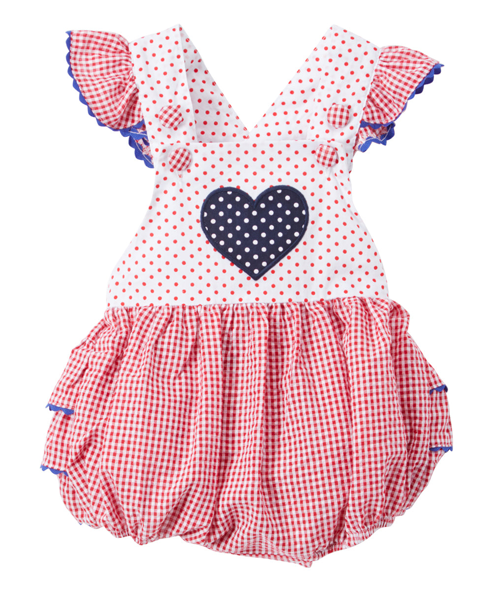 Red & White Gingham Heart Ruffle-Accent Bubble Romper