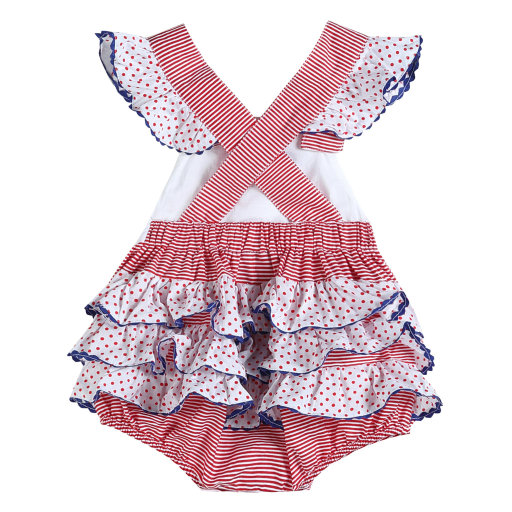 Red and White Striped Americana Hearts Cross-Back Romper
