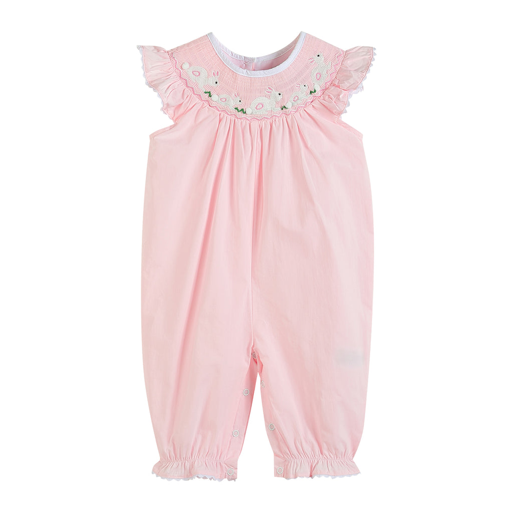 Light Pink Bunny Smocked Romper
