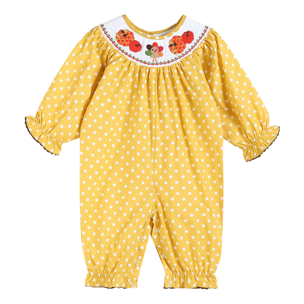 Mustard Smocked Bubble Playsuit with Long Sleeves with Pumpkins and Turkey