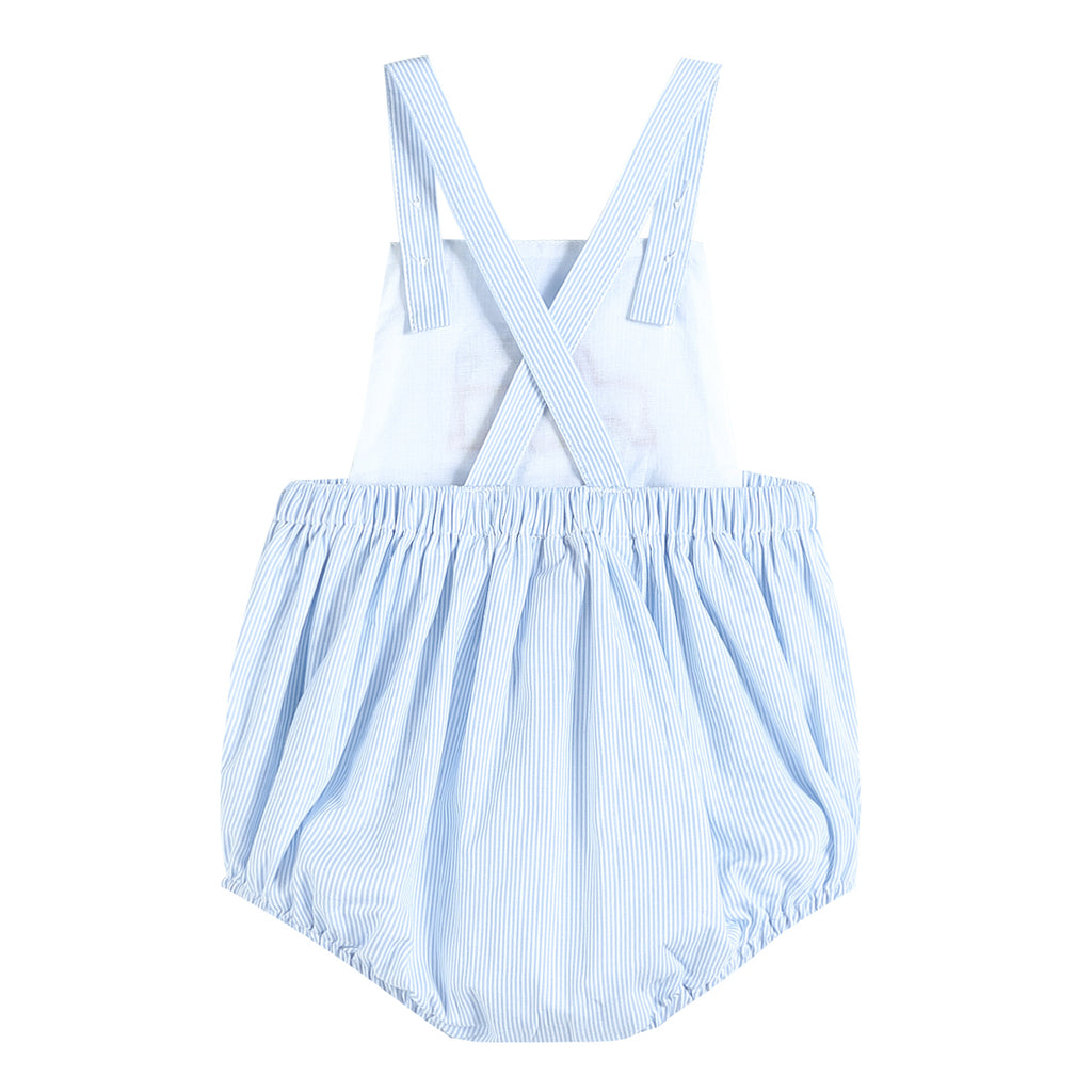 Blue Stripe Bubble Romper with Button Trim and Truck Applique