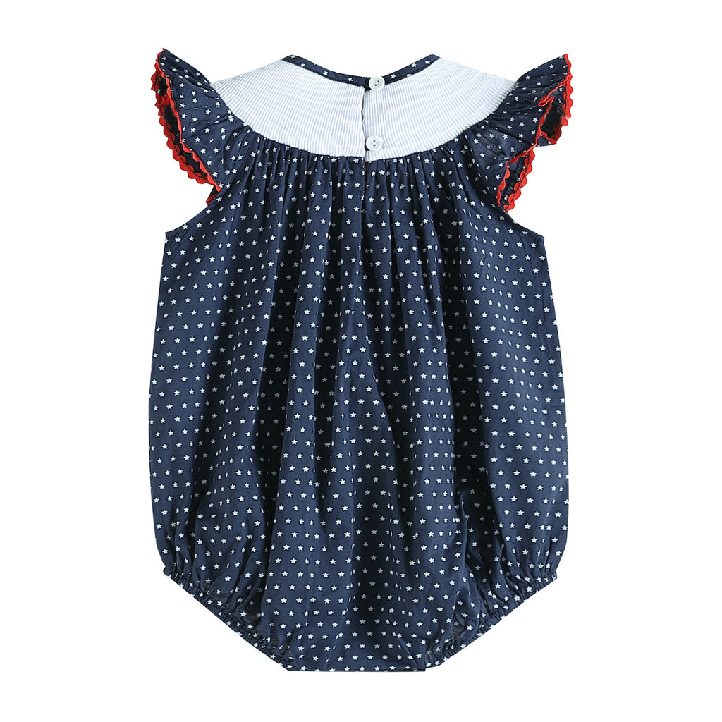 Navy American Flags Smocked Romper