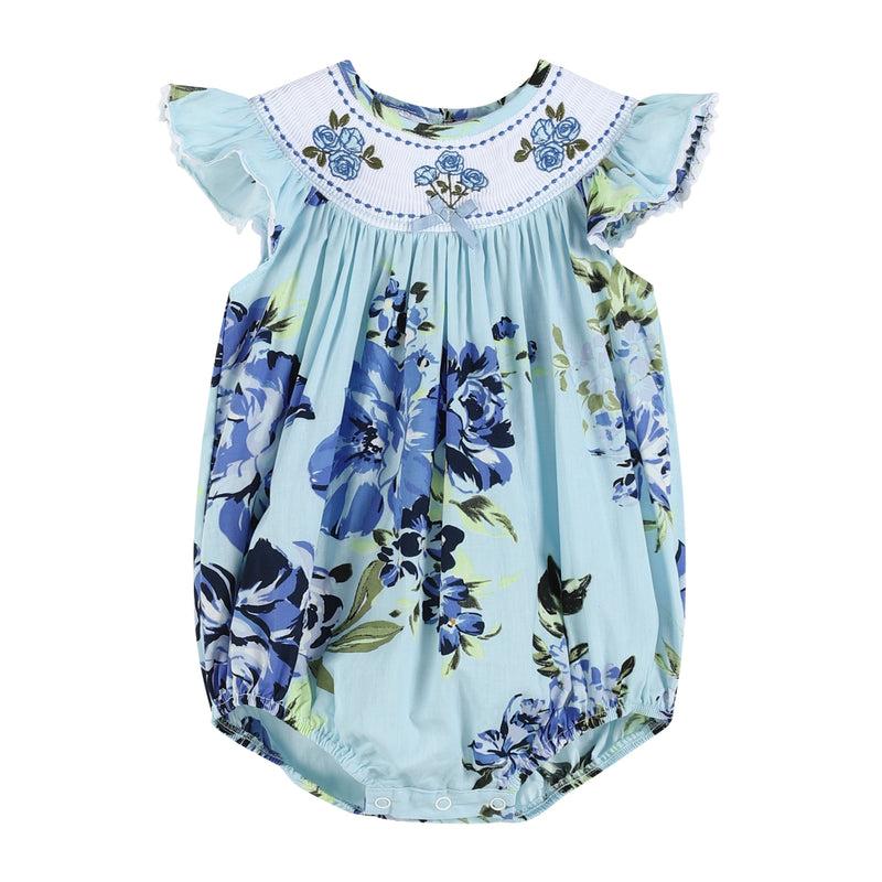 Vintage Blue Rose Print Smocked Romper