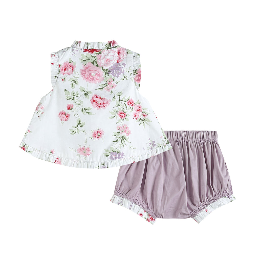 White and Lilac Ruffles and Bows Top and Bloomer Set