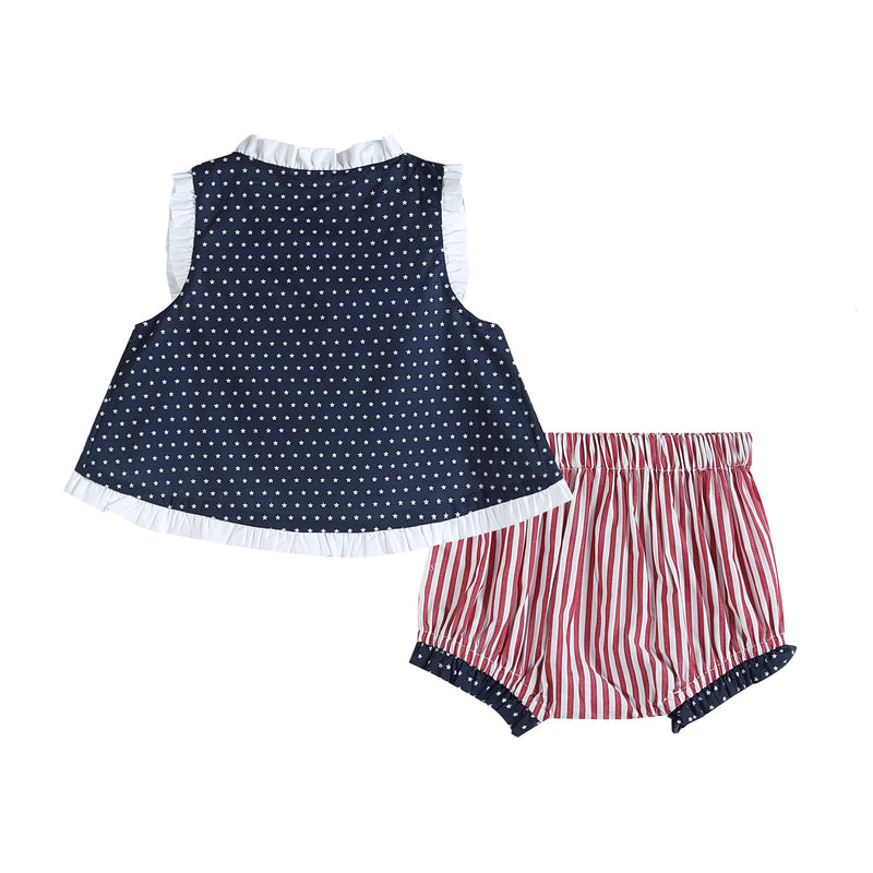 Navy Americana Bows Top and Ruffle Bloomer Set