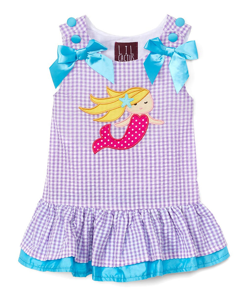 Purple Gingham Mermaid Swing Dress