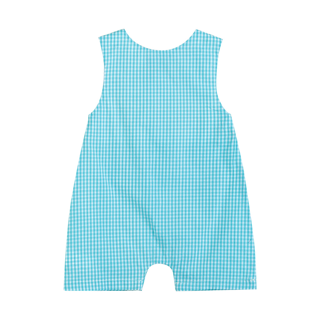 Turquoise Gingham Bunnies and Eggs Smocked Romper