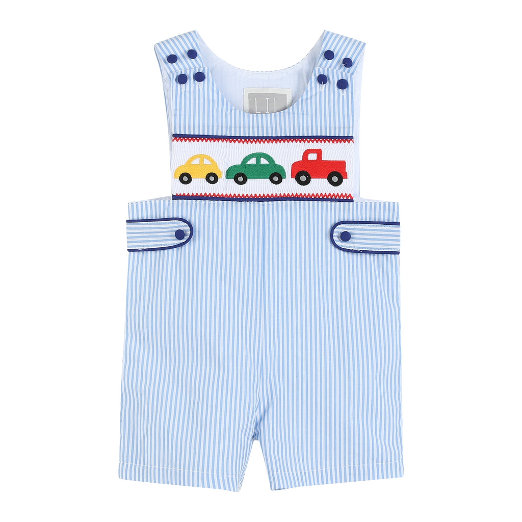 Light Blue Striped Car Smocked Jon Jons