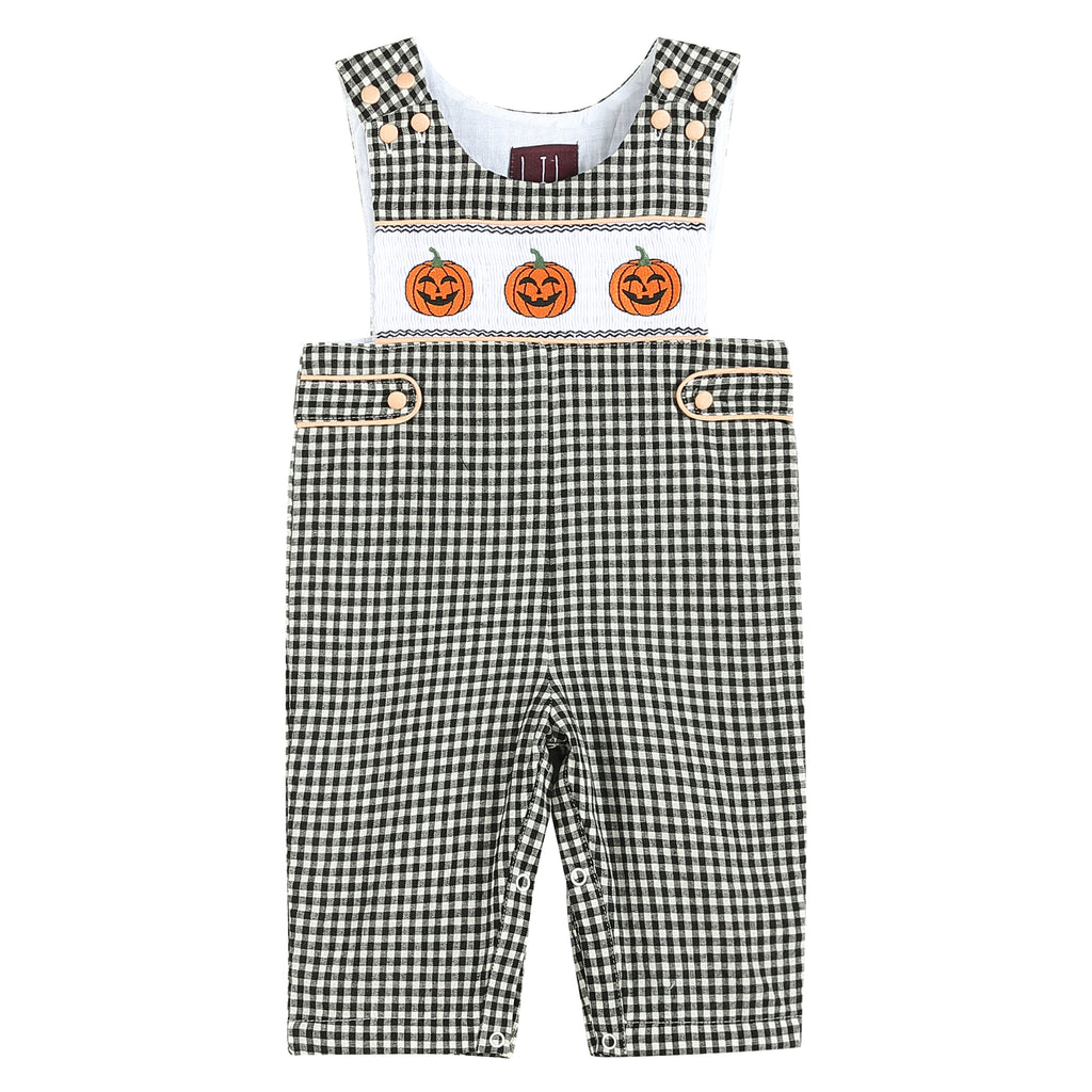 Black Gingham Pumpkin Smocked Overalls