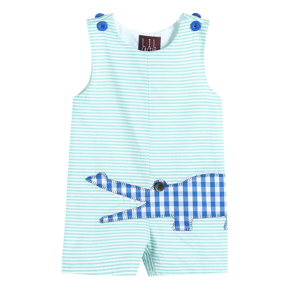Aqua Striped Gingham Crocodile Applique Shortalls