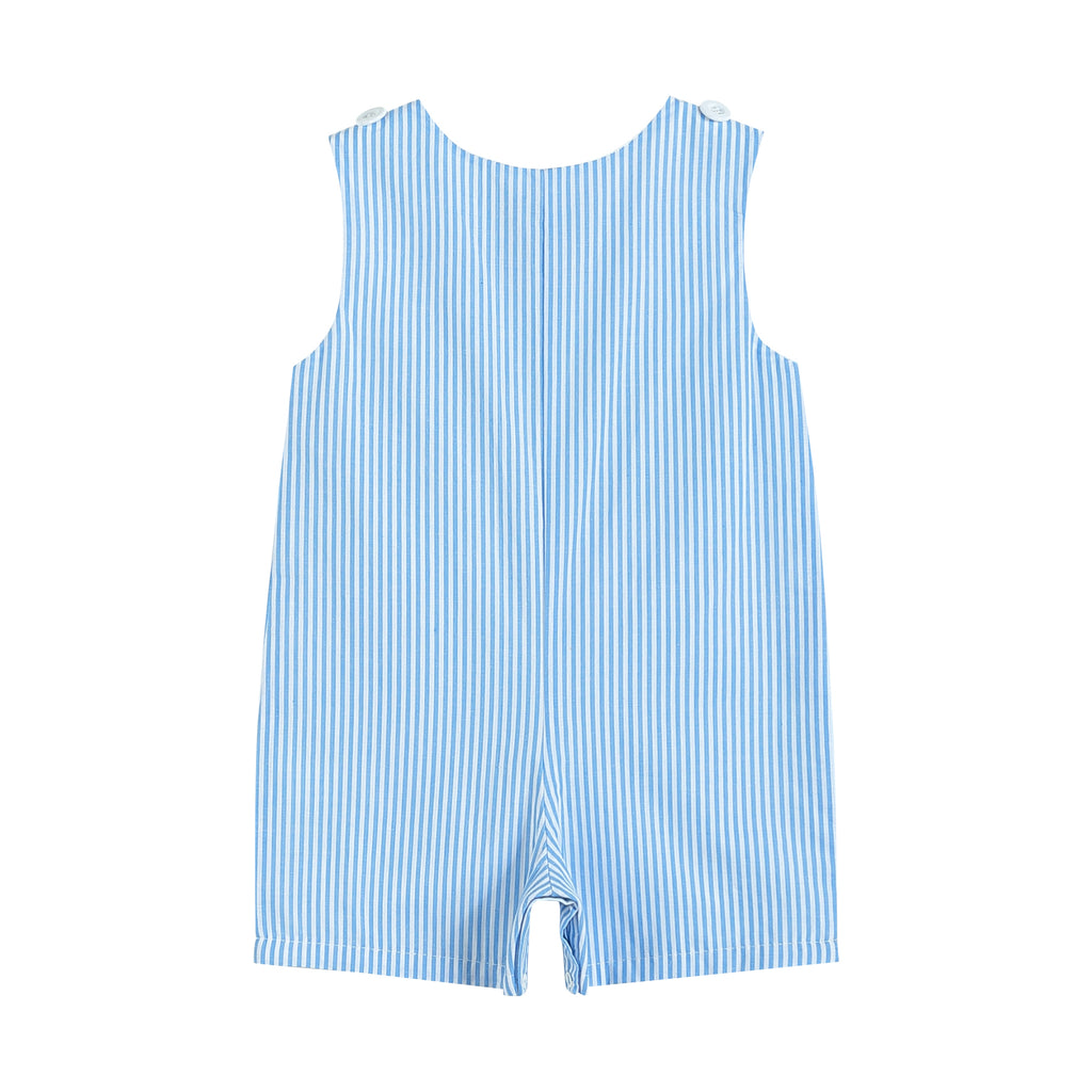 Blue Striped Bunny Train Shortalls