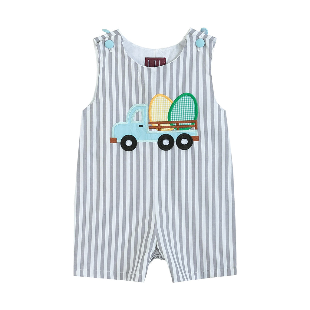 Gray Striped Easter Egg Truck Shortalls