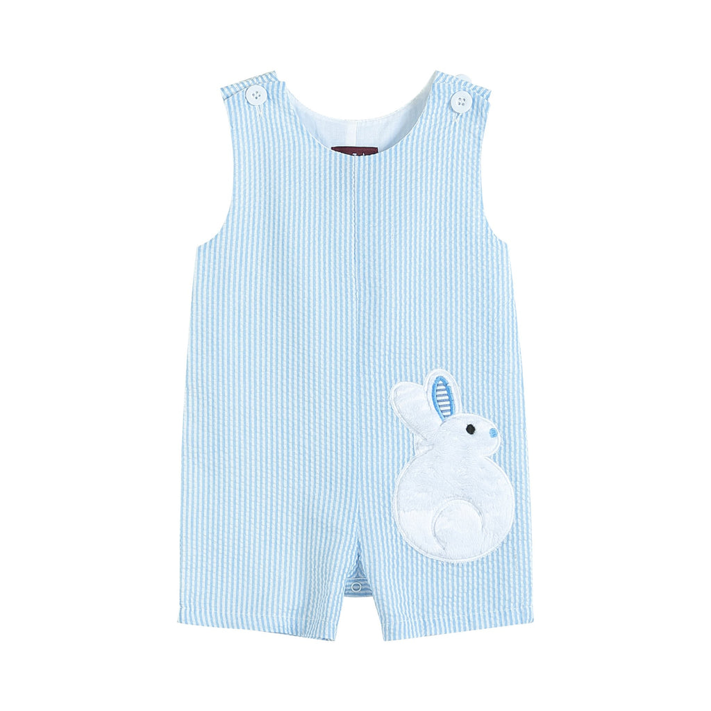 Light Blue Seersucker Fuzzy Bunny Shortalls