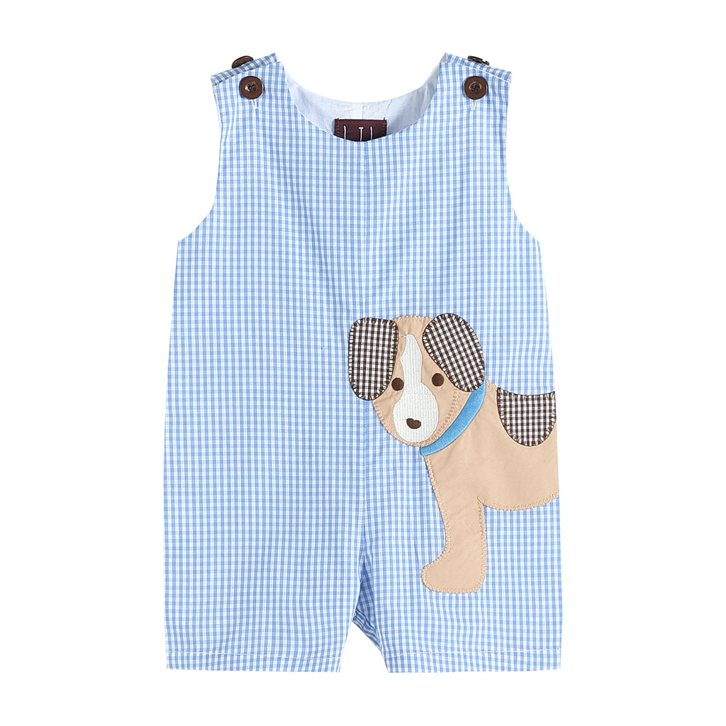 Blue Gingham Puppy Shortalls