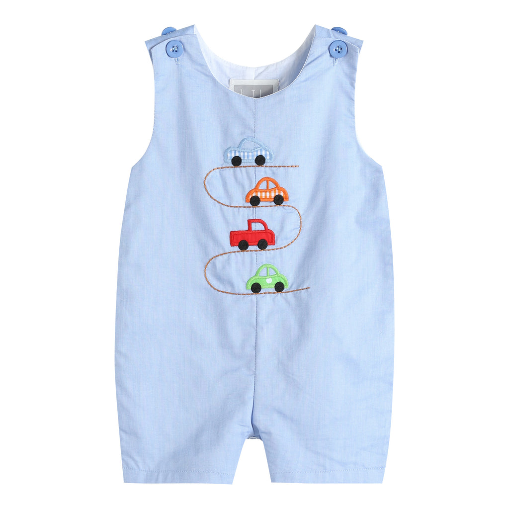 Blue Car Race Track Embroidery Shortalls