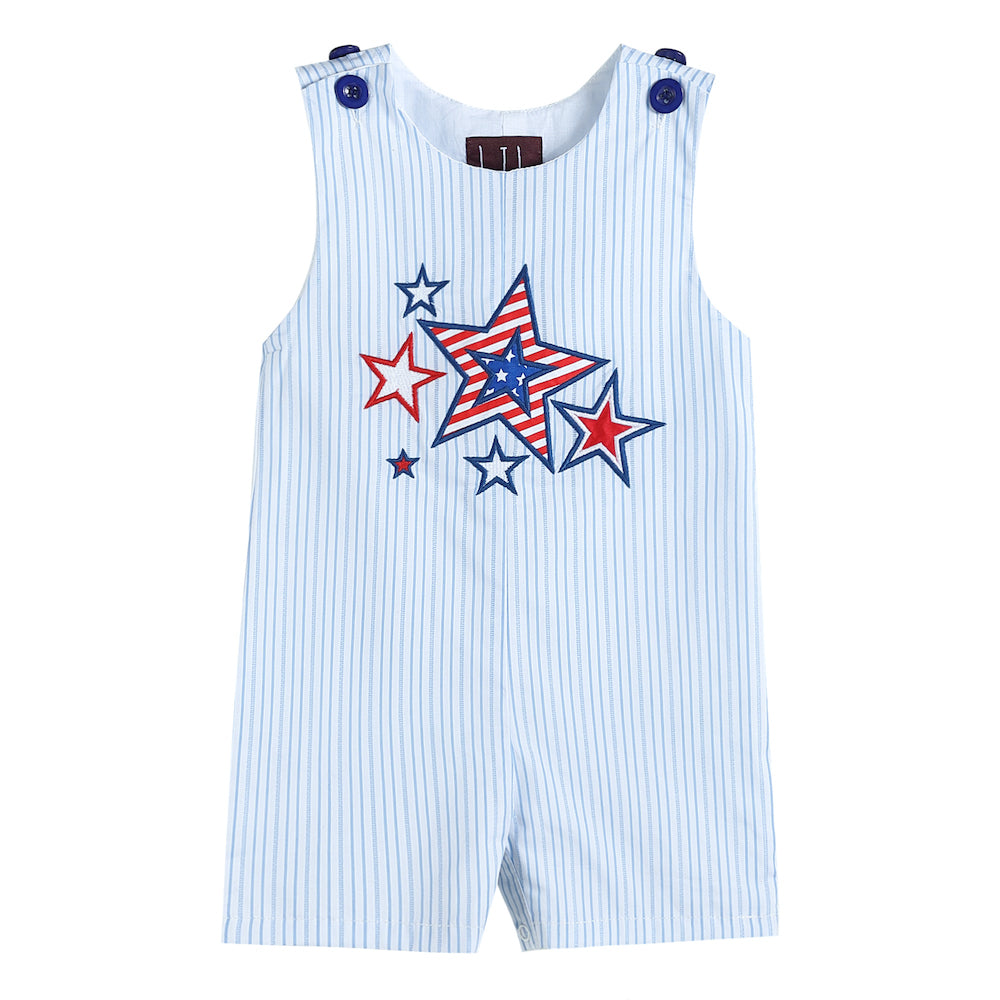 Blue Striped Short-All with American Stars