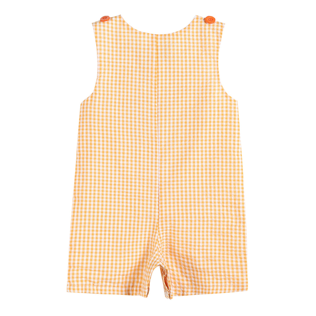 Orange Nautical Gingham Short-Alls