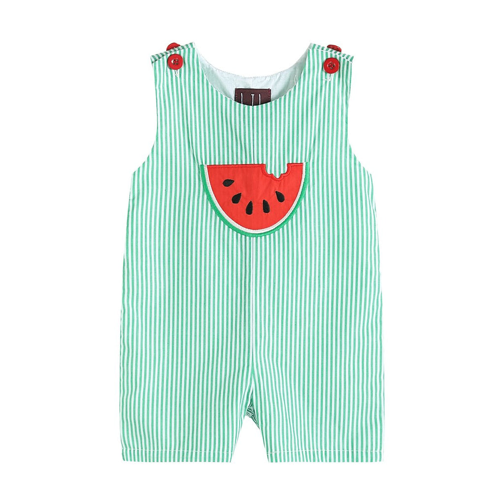 Green Stripe Watermelon Applique Shortalls