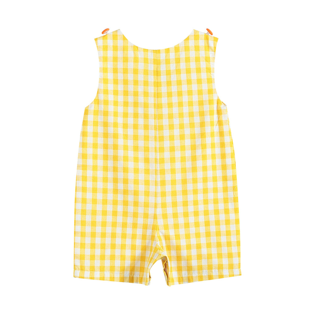 Yellow Gingham Easter Bunny Carrot Car Shortalls