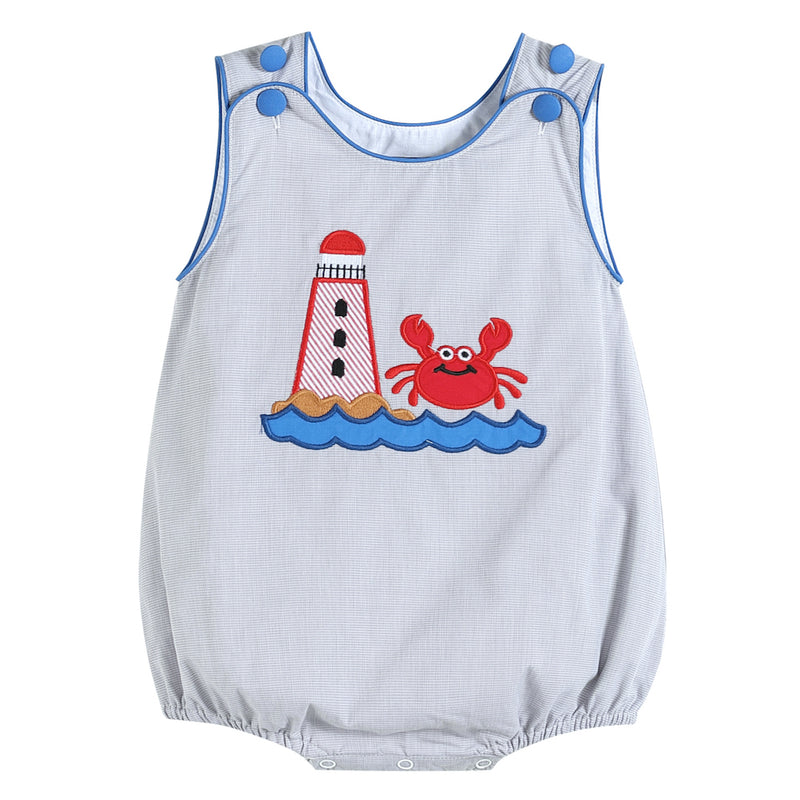 Gray Lighthouse and Crab Applique Romper