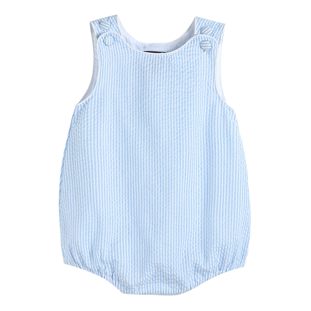 Light Blue Seersucker One-Piece Bubble Romper