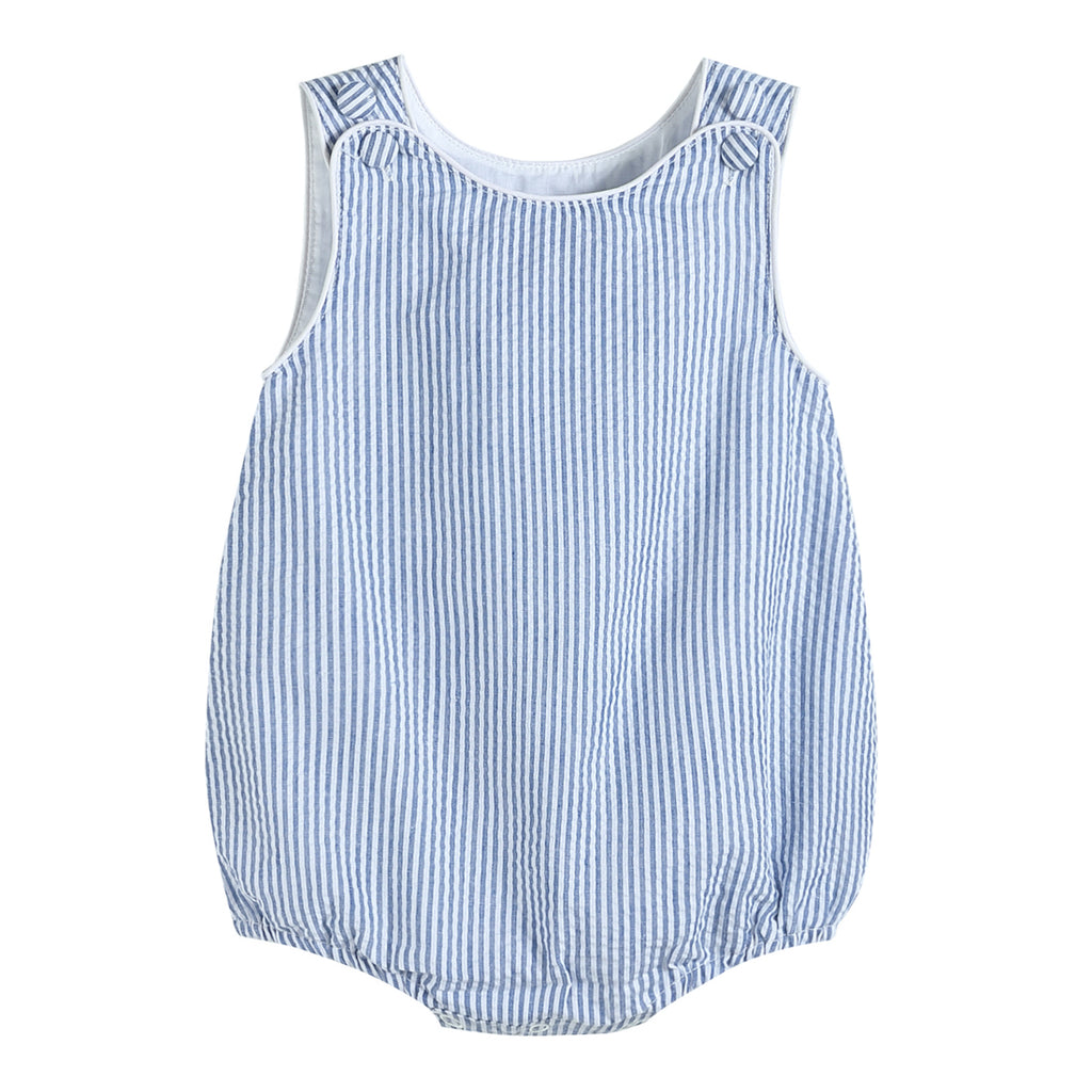 Boys Dark Blue Seersucker One-Piece Bubble Romper