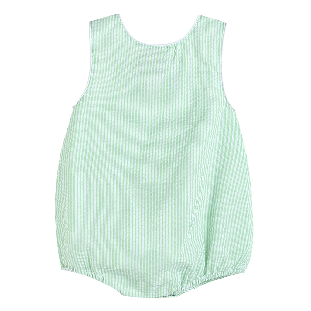 Boys Basic Green Seersucker Bubble Romper