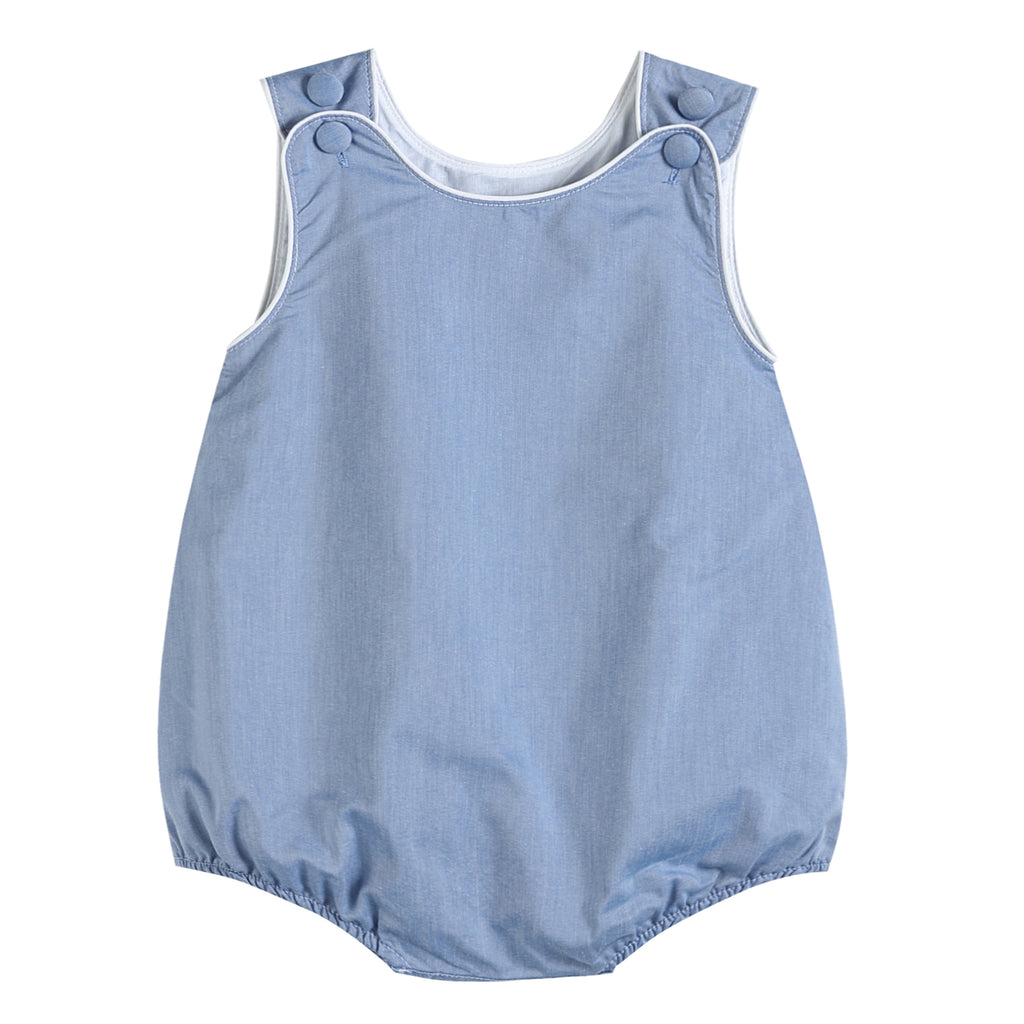 Boys Basic Blue Denim Style Bubble Romper
