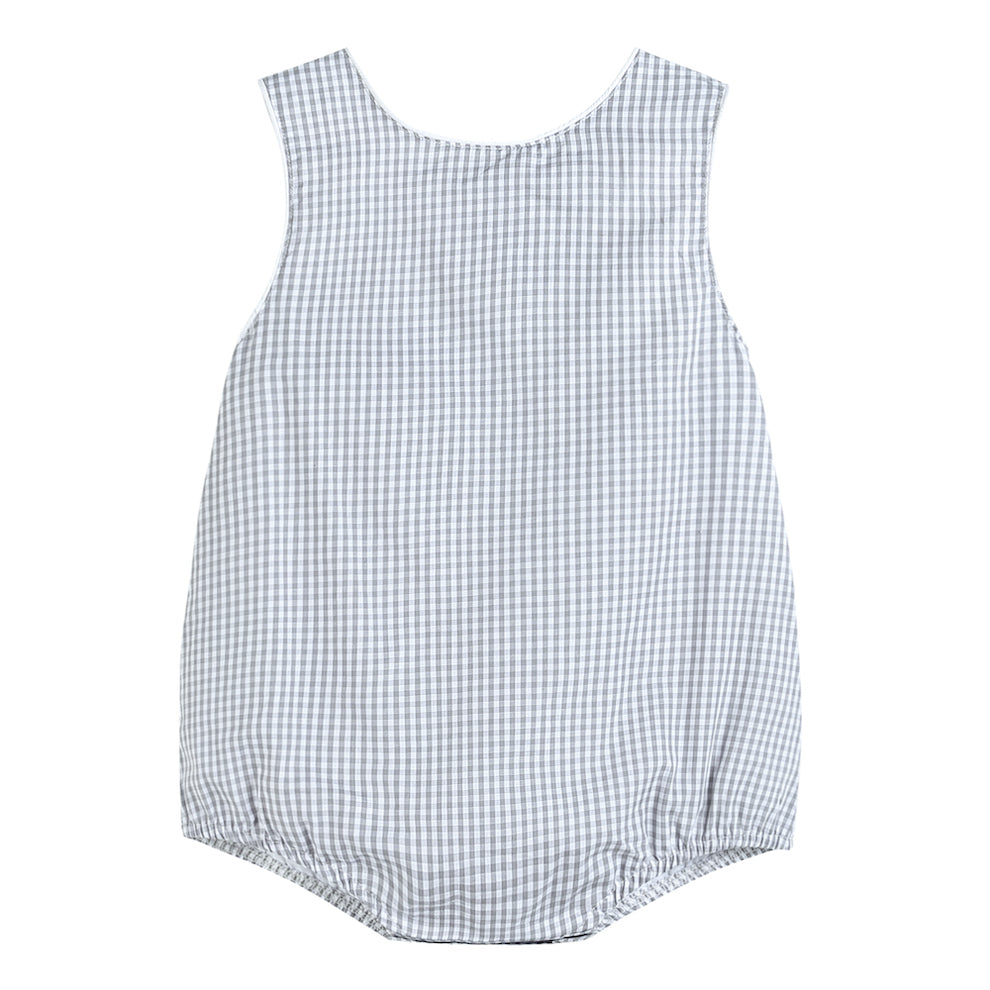 Boys Basic Gray Gingham Bubble Romper
