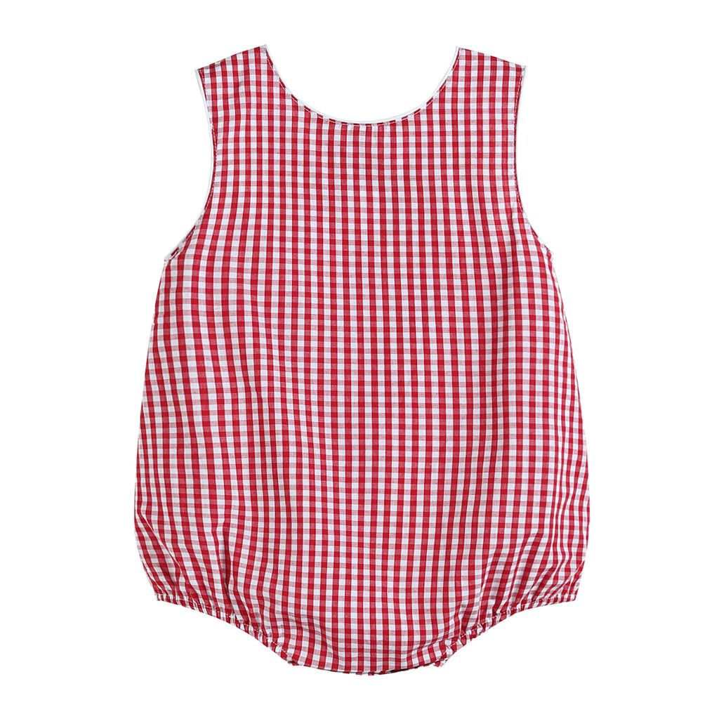 Boys Basic Red Gingham Bubble Romper