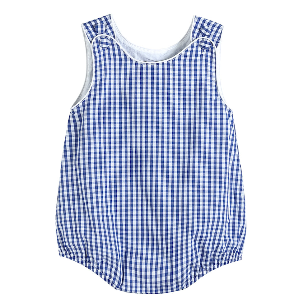 Boys Dark Blue Gingham One-Piece Bubble Romper