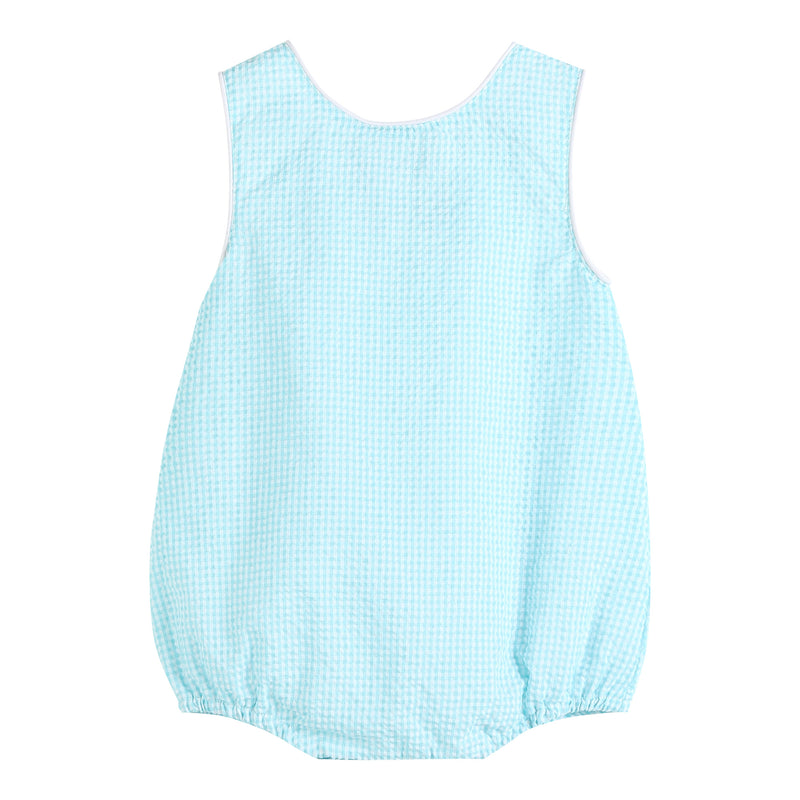 Turquoise Seersucker Basic Bubble Romper