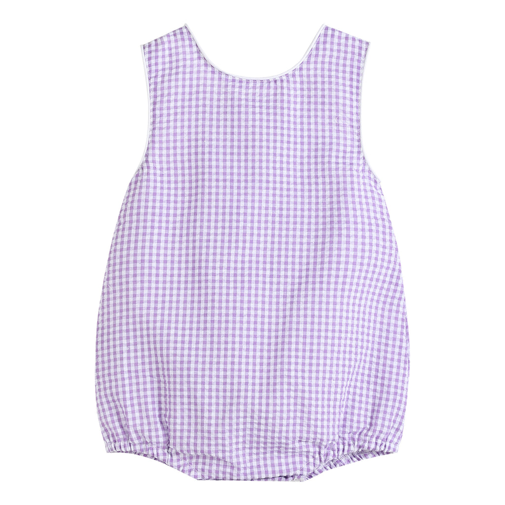 Purple Gingham Basic Bubble Romper