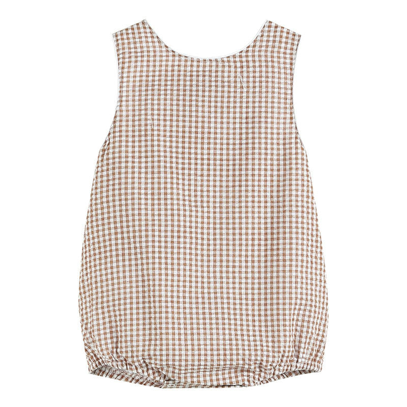 Boys Brown Gingham One-Piece Bubble Romper