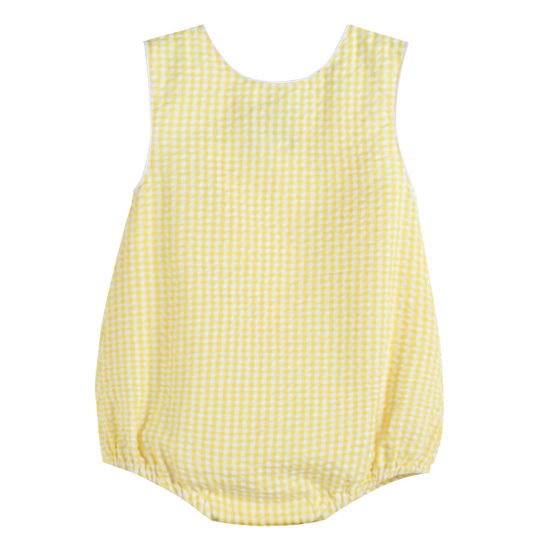 Yellow Gingham Basic Bubble Romper