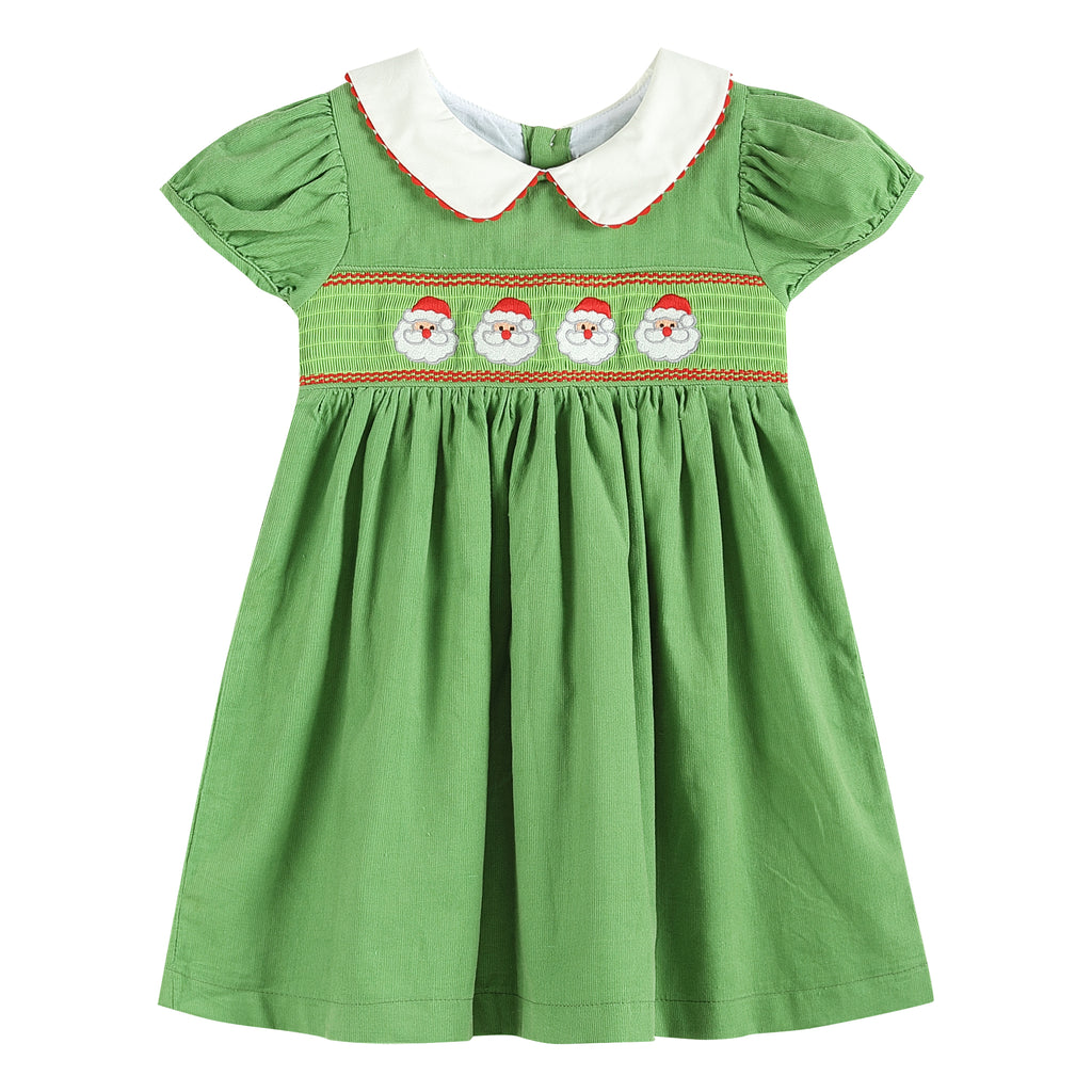 Green Santa Corduroy Smocked Dress