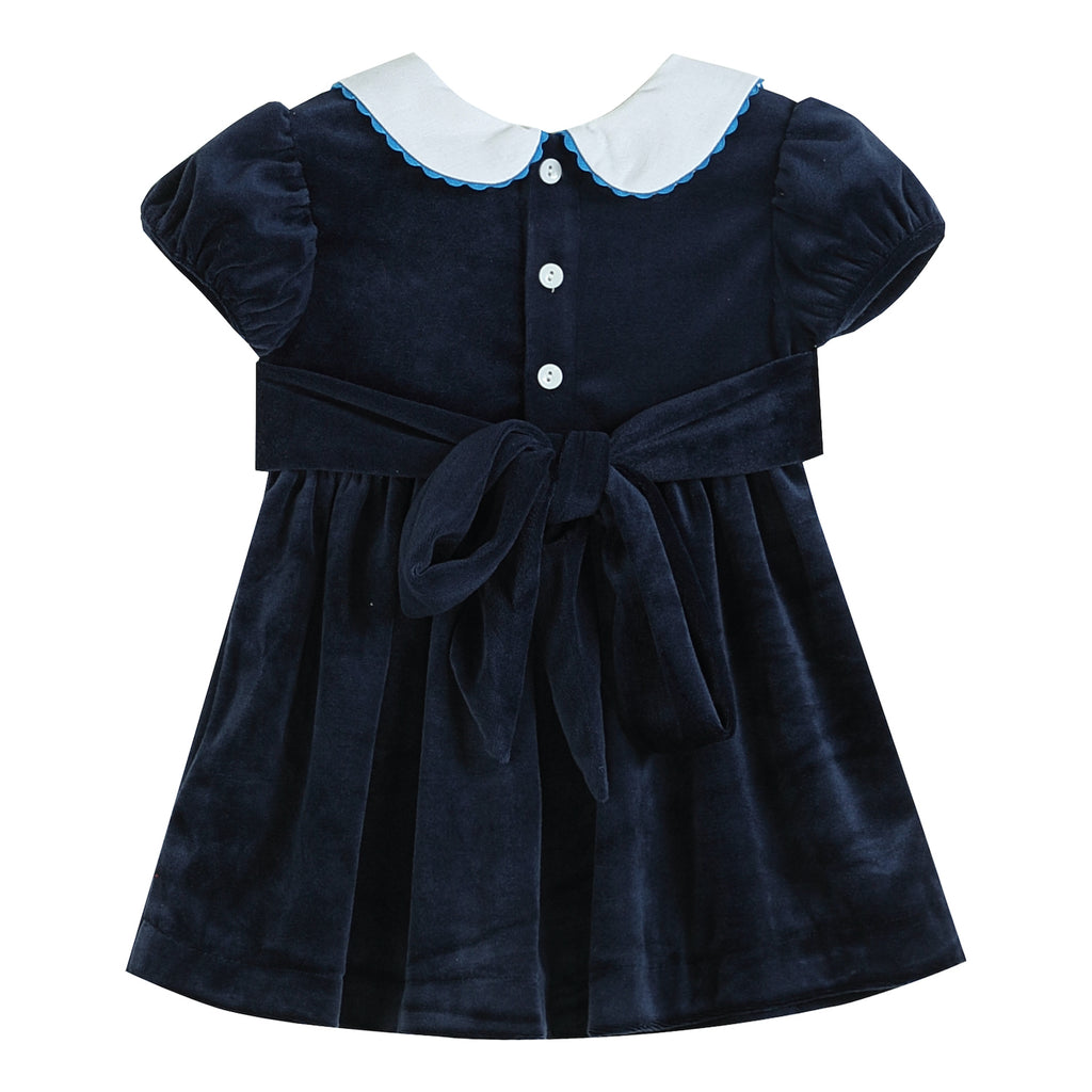 Dark Blue Velour Christmas Nativity Smocked Collared Dress