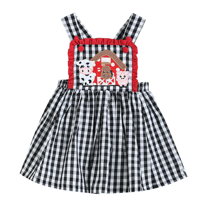 Black Gingham Barn Scene Jumper Dress