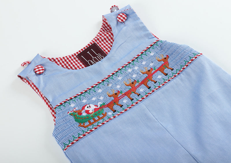 Light Blue Smocked Santa and Sleigh Overalls