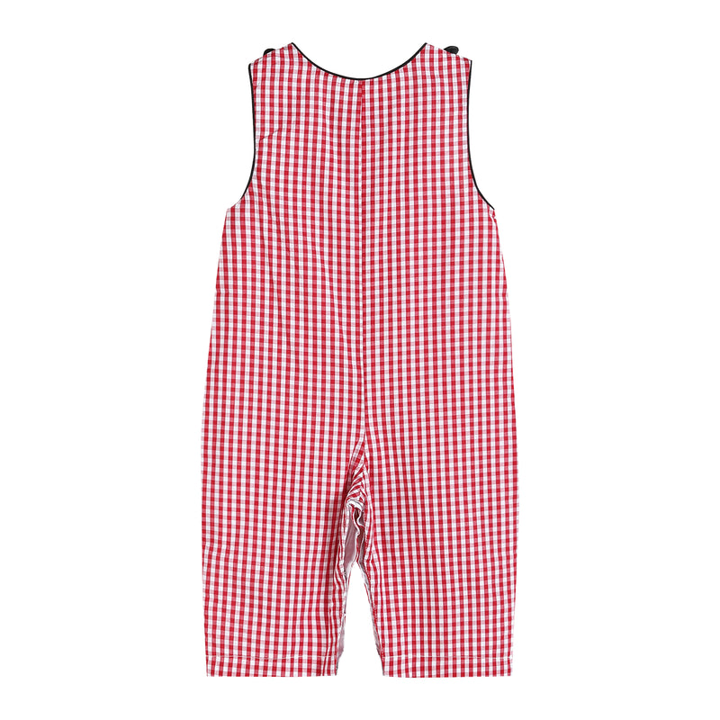 Boys Red Gingham Overalls