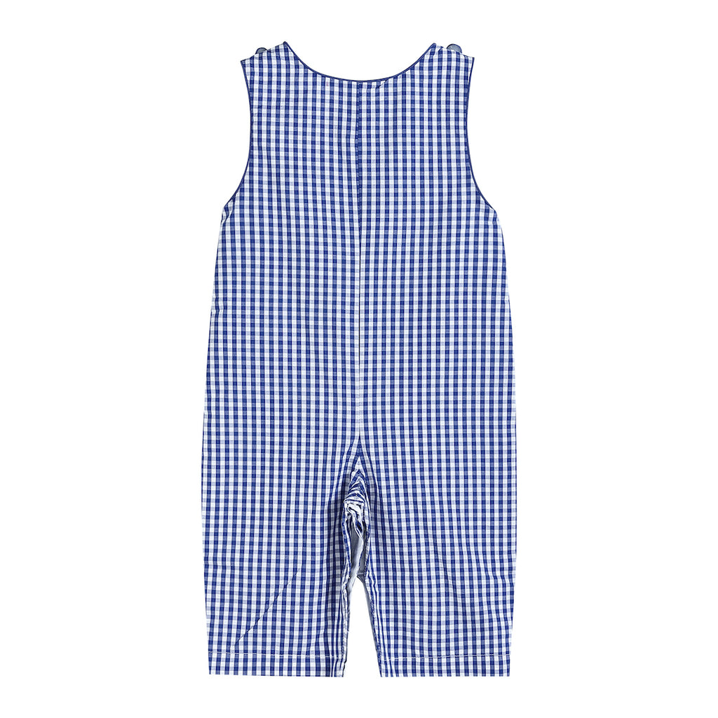 Dark Blue Gingham Overalls