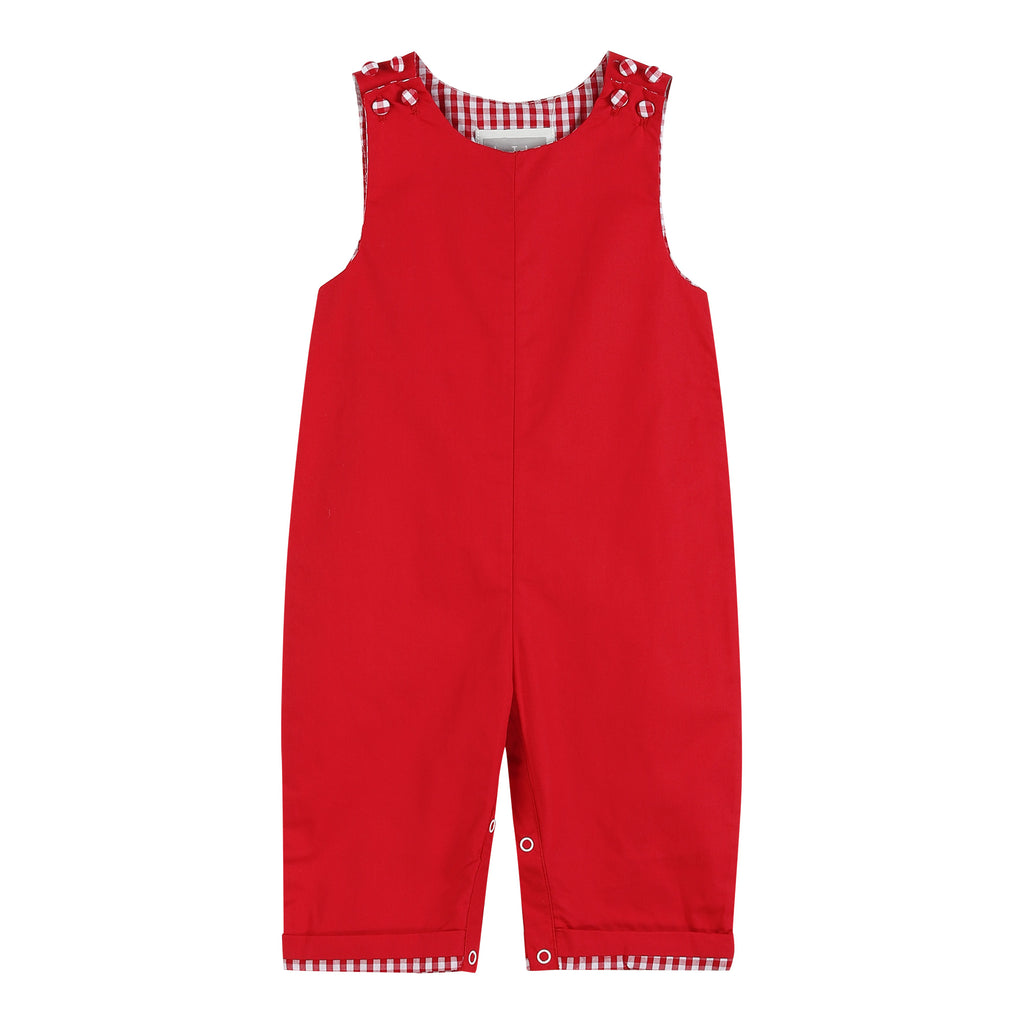 Red Gingham Trim Overalls