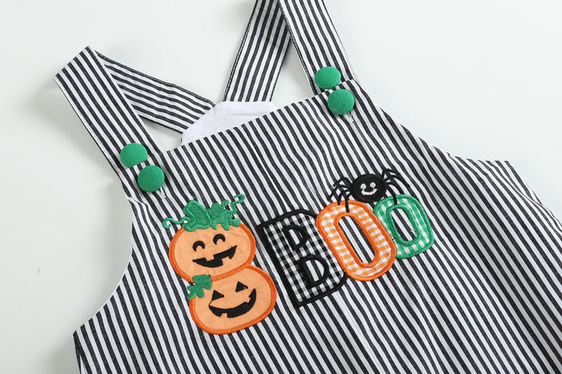 Black Stripe 'Boo' Smocked Overalls