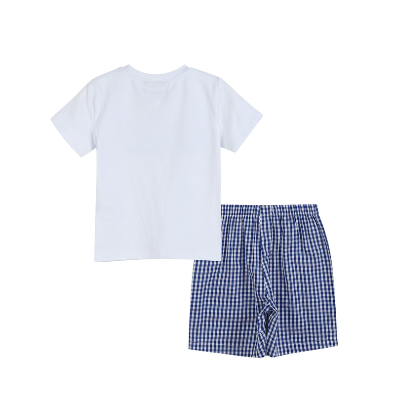 White Shark Applique Crewneck Tee & Blue Gingham Shorts
