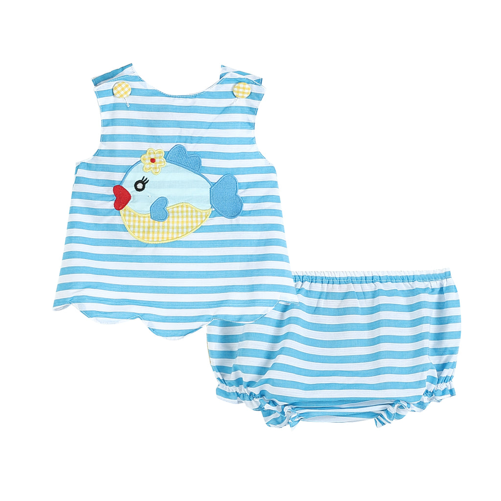 Blue Stripe Fish Applique Top & Bloomers