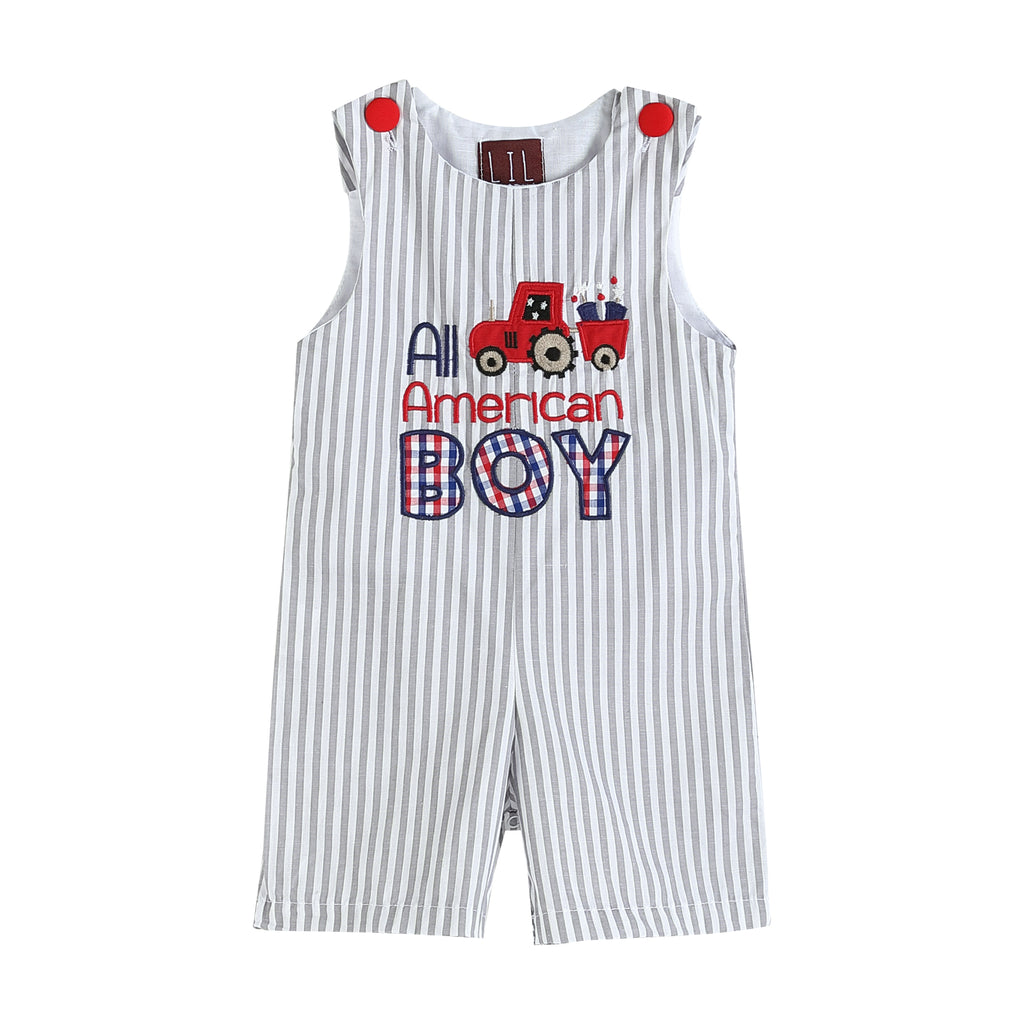 Gray & White 'All-American Boy' Shortalls