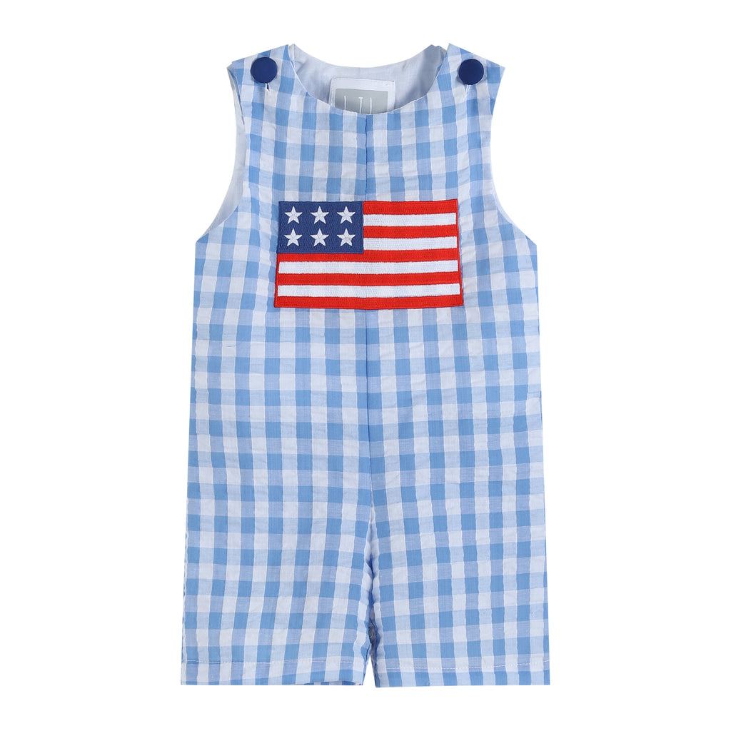 Light Blue Gingham American Flag Shortalls