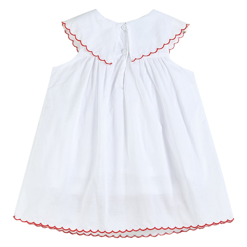 White with Red Trim Santa and Reindeer Yoke Dress