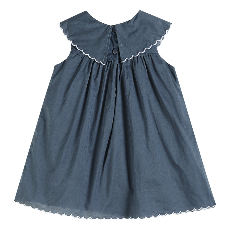 Dark Blue Christmas Nativity Yoke Dress