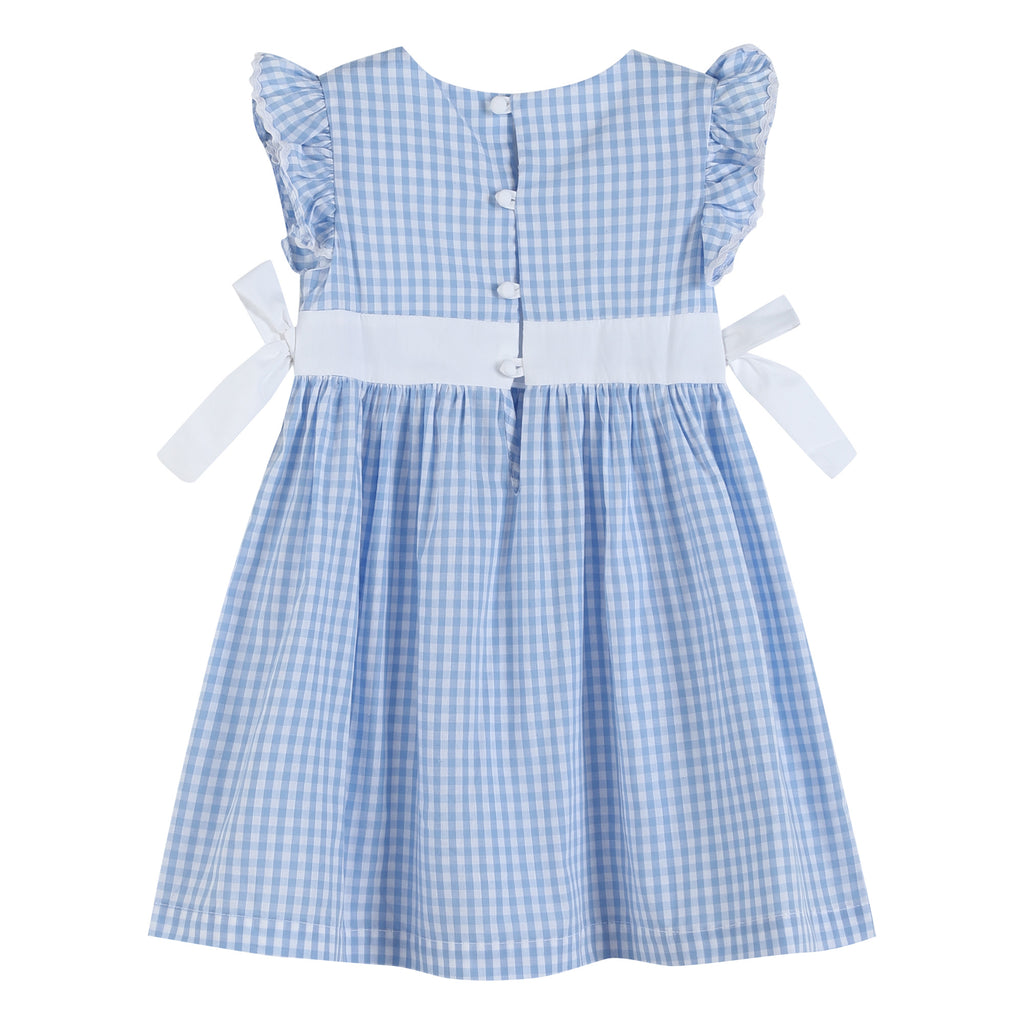 Light Blue Gingham A-Line Dress